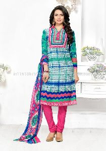 Colored Leon Material Printed Salwar Kameez