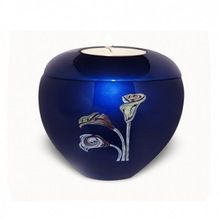 Blue Tealight Holder With Rose