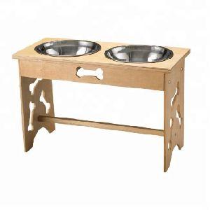 Wood Bone Design Stand Pet Bowl