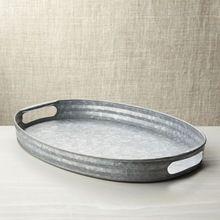 Galvanized Metal Grey Serving Tray