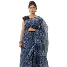 cotton blue floral saree