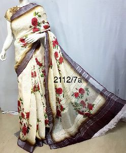 Digital Printed Linen Saree