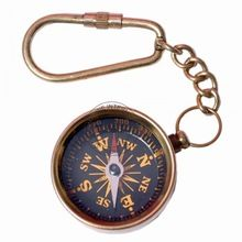 Brass Compass Keychain