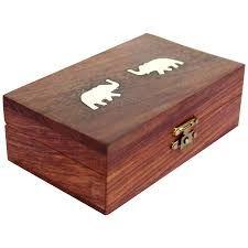 Wooden Elephant Design Jewellery Box