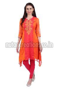 Shwetambara Poly Georgette Embroidered Orange Kurti