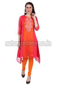 Shwetambara Poly Georgette Embroidered Pink Kurti