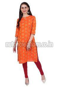 Shwetambara Jaquard Silk Mirror Work Orange Kurti