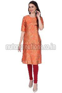 Shwetambara Milky Silk Gold Printed Straight Orange Kurti