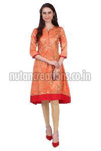Shwetambara Milky Silk Gold Printed A Line Orange Kurti