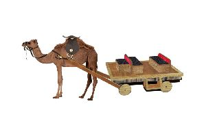 Multicolor Decorative Camel Cart Statue