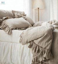 ruffled throw linen bedspread