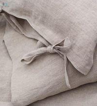 Softened natural linen bedding set