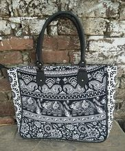 Cotton Carry Leather Handle Shopping Bag
