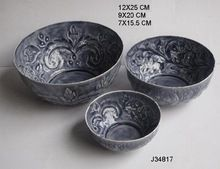 Pressed Aluminium Bowl With Floral Patterns In Grey Color