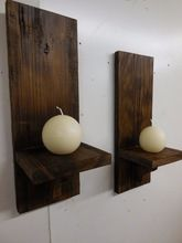 Wooden Candle Wall Sconce