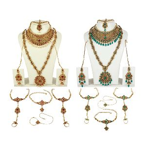 Antique Gold Plated Polki Bridal Necklace Set