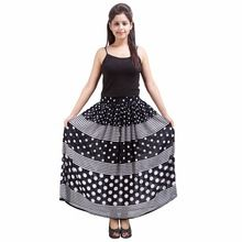 Black And White Long Rayon Skirt