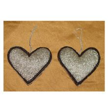 Heart Shape Bead Embroidery Christmas Decoration Hanging