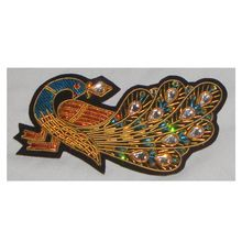 Peacock Shaped Zari Embroidery Badges