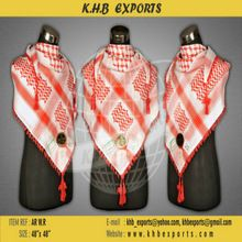 Shemagh White Red Scarf