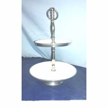 Metal Material Two Tier Enamel Cake Stand