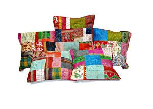 Silk Sari Kantha Decorative Throw Pillow