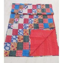 Vintage Silk Sari Twin Kantha Quilt Old Patola Patchwork Quilt