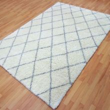 White Grey Handknotted Moroccan Indian Handmade Carpet Rugs