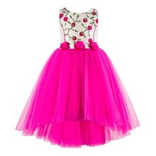 High Qualty Pink Embroidered Hi-low Girls Party Dress