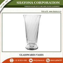 Decorative Clear Crystal Glass Flower Vase