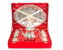 Brass Silver Plated English Tea Set