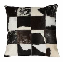Natural Hair On Leather Cushion Cover