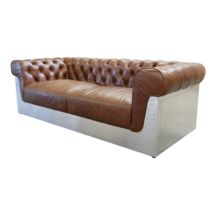 Aviator Genuine Leather Two Seater Chesterfield Sofa