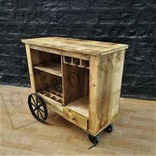 Industrial Mango Wood Bar Serving Trolley