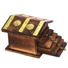 Wooden Hut Tea Coasters