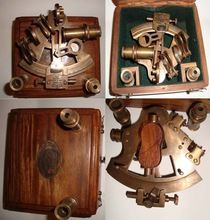 Antique Finish Brass Marine Sextant And Spare Telescope With Wood Box