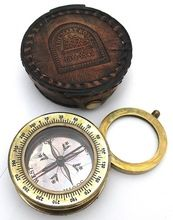 Brass Compass In Leather Case