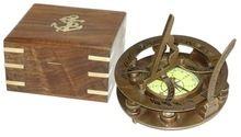 Brass Sundial Compass In Wooden box,