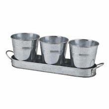 Galvanized Metal Herb Pot Set
