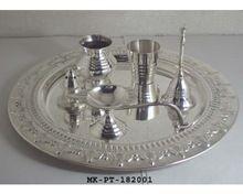 Brass Silver Finish Pooja Thali