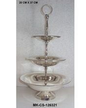 Brass Silver Plated 3 Tier Cake Stand