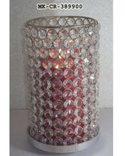 Crystal Beaded Pillar Candle Holder