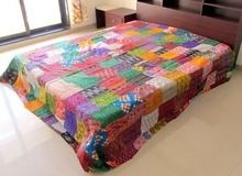 Indian Old Vintage Quilt Old Patola Blanket Silk Saree