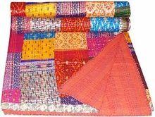 King Bedspread Patola Silk Patch Handmade Kantha Work