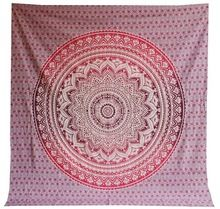 Ombre King Size Mandala Kantha Quilt Indian Cotton
