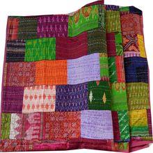 Patchwork Throws Silk Kantha Quilt