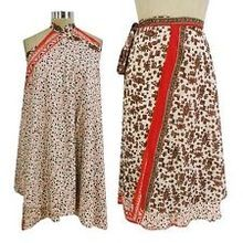 Silk Sari Patchwork Double Layered Skirt