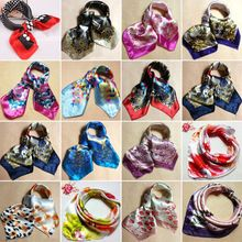 Soft Silk Square Scarf Scarves Bandanas Head Wrap