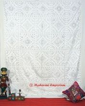 White Embroidery Mirror Work Bed Sheet King