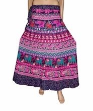 Wrap Around Elephant Peacock Print Cotton Long Skirt